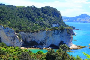 """Cathedral Cove, c'est une plage sur la péninsule de Coromandel, avec de beaux rochers blanc et du sable fin, la plage a servi au tournage du premier """"monde de Narnia""""."""