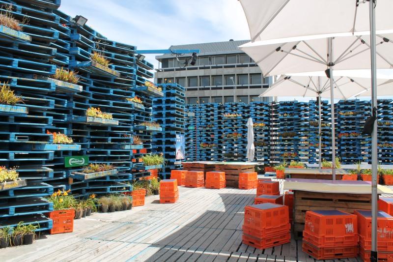 Le Pallet Pavilion, un café fait de palettes, encore une création post-earthquake 2011