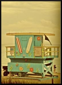 Cabine de sauveteur. Il y en a des dizaine sur la plage de South Beach, toutes différentes et colorées !