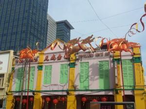 Une façade de maison dans le quartier Chinatown, à l'heure du Nouvel An Chinois