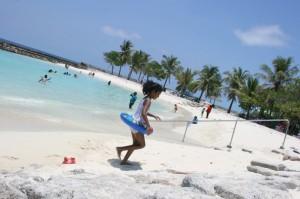 Plage artificielle à Malé