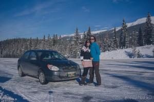 Sur la route la plus pittoresque du Canada entre Jasper et Banff avec la voiture qui nous a fait traverser la moitié du pays gratuitement